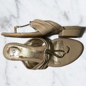 Sofft Brescia Nude Tan Block Heel Leather Sandals